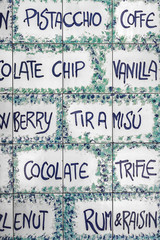 Ceramic tiles with a menu of Italian delicacies
