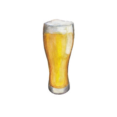 The glass with light fresh beer isolated on a white background, a watercolor illustration in hand-drawn style.
