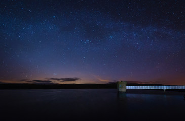 Starry Night at Fontburn Reservoir / Fontburn Reservoir in Northumberland is a popular place for fishing and walking, seen her under the stars at night