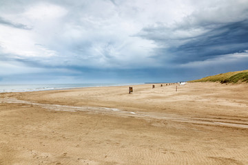 Beach with thunder clouds