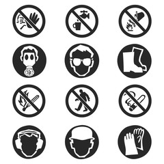 Vector set of warning signs isolated on white background.