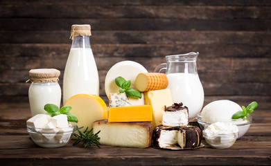 Foto op Canvas Zuivelproducten Various dairy products