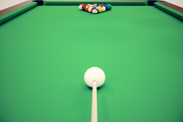 3D illustration pool billiard game. American pool billiard. Pool billiard game, Billiard sport concept.