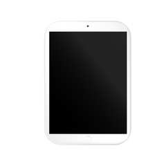 VECTOR: Modern stylish white gray tablet on isolated white background. Mock-up template ready for design