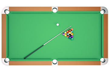 Top view 3D illustration pool billiard game. American pool billiard. Pool billiard game. Billiard sport concept.