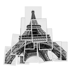 Collage of the Eiffel Tower made with white border photographic pictures.