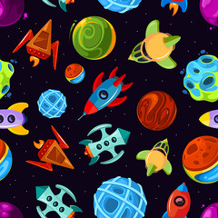 Space vector seamless pattern with spaceships, stars, planet and rockets, childrens fantastic background
