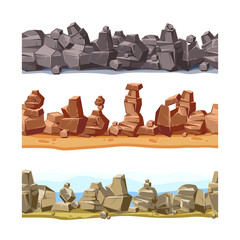 Three horizontal seamless rocky, mountains landscape for game user interface. Vector cartoon illustration set
