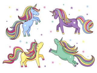 Funny cartoon unicorn. Vector illustrations set isolate on white background