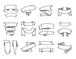 Vector blank doodle vintage ribbons, hand drawn retro banners