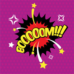 Boom comic inscription, text, speech bubble burst, word in the cloud. Visual explosion effect, vector illustration for comics
