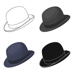 Bowler hat icon in cartoon style isolated on white background. Hipster style symbol stock vector illustration.