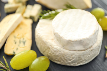 Delicious assorted cheese, closeup