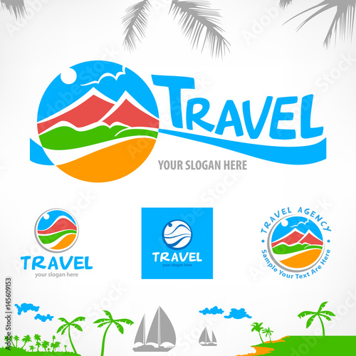 Set Of Travel Symbols And Signs With Stylized Landscape Concept