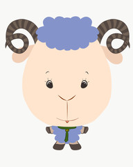 small, funny, lamb with horns