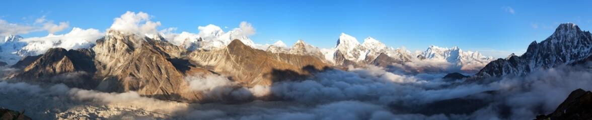 Mount Everest, Lhotse, Makalu and Cho Oyu from Gokyo Ri