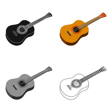 Mexican acoustic guitar icon in cartoon style isolated on white background. Mexico country symbol stock vector illustration.