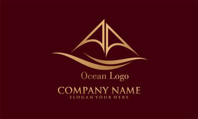 sailing boat ocean vector logo