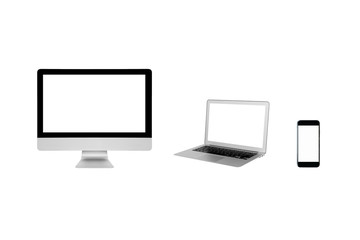 Smart modern computer PC,Laptop and smartphone with blank screen isolated on white background.Photo design for smart technology and internet of things concept.