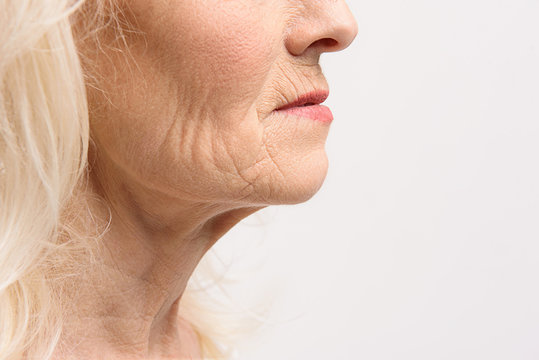 Skin of mature female person