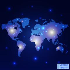 World map night lights