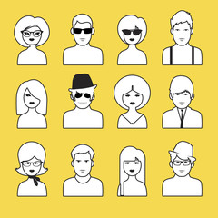 Avatars or icons of boys and girls outlines. Pop Style