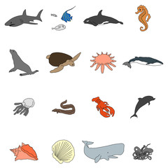 Icons of sea inhabitants in a flat style with a black stroke. Vector image on a round colored background. Element of design, interface