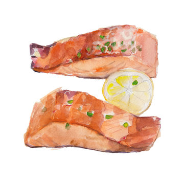 The fried slice of salmon with a lemon isolated on white background, watercolor illustration in hand-drawn style.