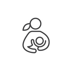 Breast feeding, woman breastfeeding her child line icon, outline vector sign, linear style pictogram isolated on white. Symbol, logo illustration. Editable stroke. Pixel perfect