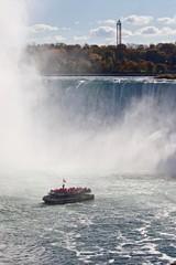 Beautiful background with amazing Niagara waterfall and a ship