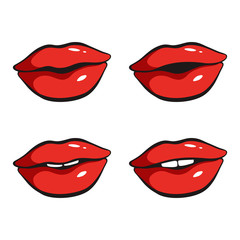 Set of sexy red lips. Vector illustration isolated on white background.