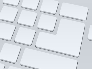 White blank computer keyboard. Close up image. Vector illustration background.