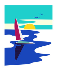 Nautical activity sign. Freehand drawn retro vintage style. Yacht on blue water emblem. Maritime symbol. Sailboat icon. Vector template for marine sailing vacation banner or yachting sport logo design