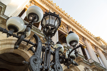 Paris vintage lantern on the buildings background