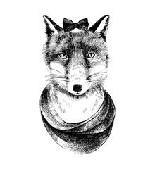 Illustration of hand drawn dressed up fox