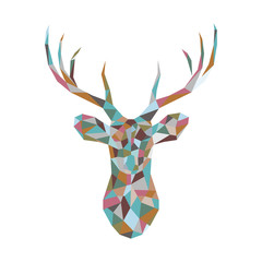 Colorful polygonal deer head. Christmas greeting card with colorful reindeer on white background. Xmas vector illustration in origami style.