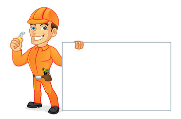 Electrician holding pliers and blank sign