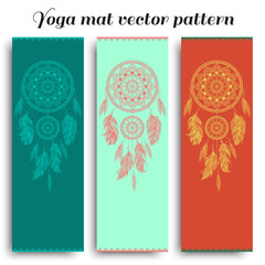 Set of yoga mat with dreamcatcher vector pattern