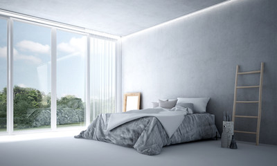 The 3d rendering interior of minimal bedroom and green view
