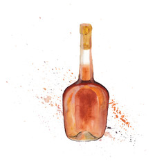 The cognac bottle isolated on a white background, a watercolor illustration in hand-drawn style.