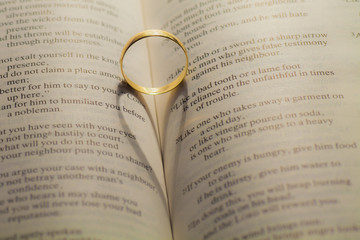 Wedding rings casting a heart shape on a book