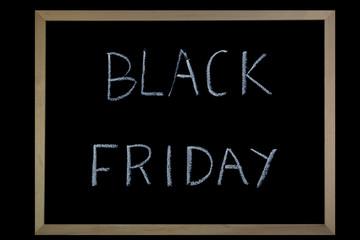 Words Black Friday written on a blackboard with chalk