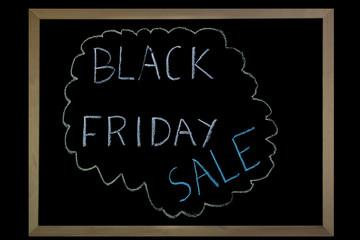 Words Black Friday Sale written on a blackboard with chalk