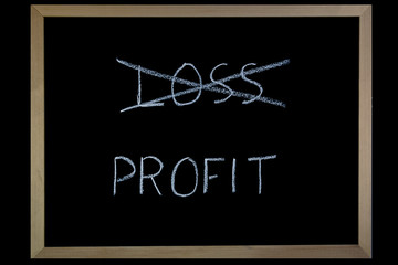 Words Loss and Profit  written on a blackboard with chalk