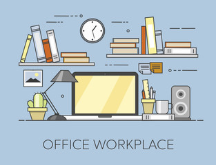 Modern workplace in office. Cozy home office interior. Offiice workplace