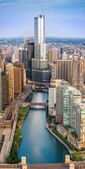 Chicago River Sunrise Aerial