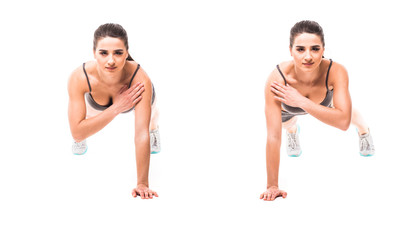 Sport beauty woman do fitness exercises on white background. Woman demonstrate begin and end of plank exercises. Fitness exercises concept.