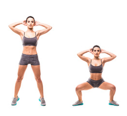 Sport beauty woman do fitness exercises on white background. Woman demonstrate begin and end of exercises. Fitness exercises concept.