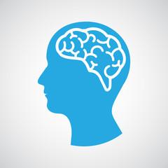 Head with brain. Vector illustration
