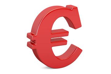 Red euro symbol, 3D rendering